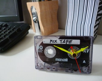 Mix Tape 1980s Cassette Tape Clock Handmade from Recycled Tape Unique Personalised gift