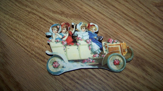 Vintage Handmade Jewelry Brooch Pin - Victorian Antique Car with Girls -