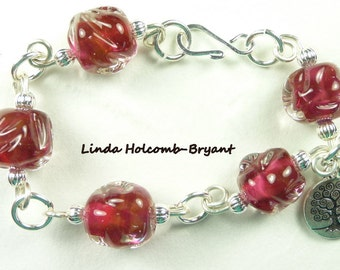 Bracelet of  Rose Lampwork Beads with Silver Wire
