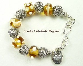 Silver Bracelet of Yellow & White Lampwork Beads