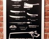 Back in Stock! Butcher Tools Silkscreen Print Black