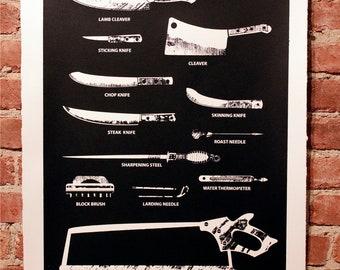 Butcher Tools Silkscreen Print Black