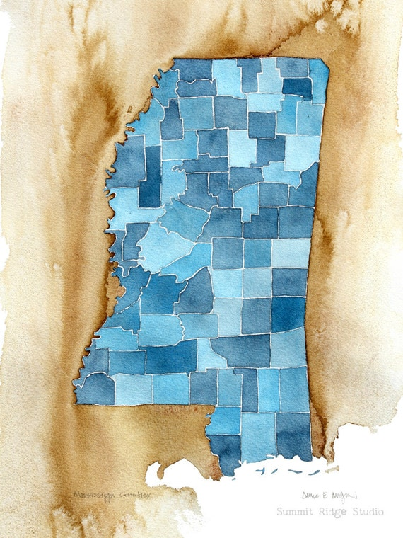 Mississippi Counties 10x8 watercolor blueprint map print decor