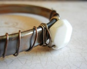 Upcycled Copper Tube Cuff, Forged Copper Cuff Bracelet, White Rabbit Jasper Bracelet, Sterling Silver and Copper Cuff