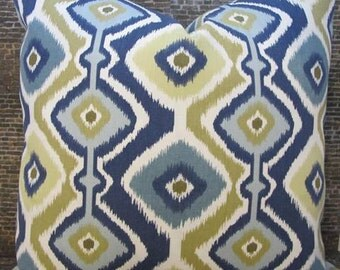 SALE 3BM Designer Pillow Cover -  Diamond Ikat Indigo - 16 x 16, 18 x 18, 20 x 20 - Outdoor