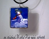 Private Listing - FOR MARY Snowman Hand Painted Glass Pendant - Tiffany Art Glass - Waterproof - Original Acrylic Painting Artwork