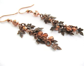 Autumn Leaf Earrings, Fall Dangle Earrings in Antique Copper Finish, Dainty Maple Leaf Earrings, Fall Fashion Jewelry, Autumn Accessories