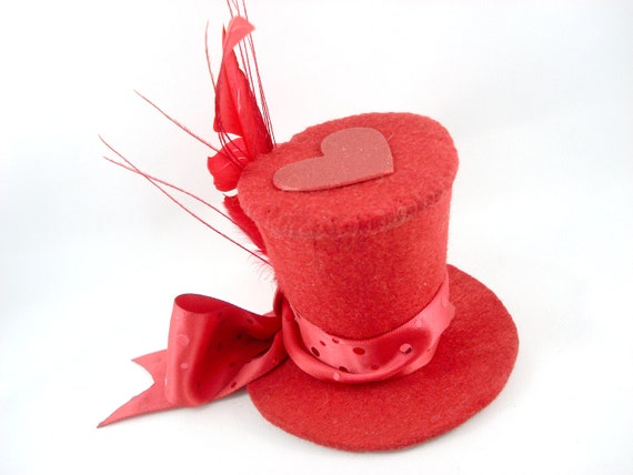 Reserved for Kristen - Red Hot Queen of Hearts Tiny Top Hat Headband - Ready to Ship