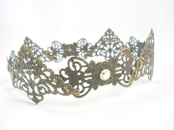 Guinevere - Antique Brass Filigree Small Medieval Crown