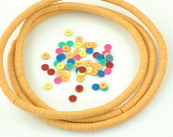 Here Comes the Sun: African Vinyl (Vulcanite) Phono Record Disc Beads, Yellow Ochre /  6x.5mm / Jewelry Making, Craft Supplies / Bright
