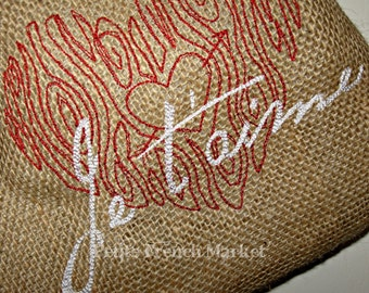 Je t'aime/ French/ red heart/ embroidered/ burlap/ Christmas stocking/ French script/ black and white/ wood grain heart