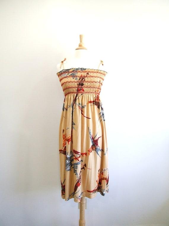 Vintage Smocked Dress Fall Colors 70s Midi Sun Dress NOS - S / M