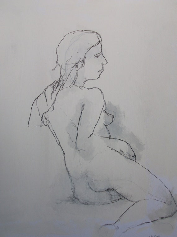 FEMALE NUDE # 5 charcoal drawing nude woman // original art on paper
