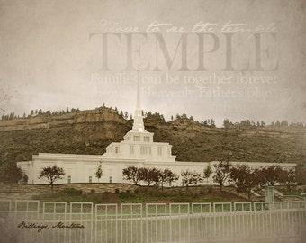 Billings Montana temple- matte print