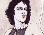 ON SALE Rocky Horror Transexual, Transylvania or Bust 12x18 print