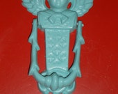 Revamped to robin egg blue an angel cast iron door knocker