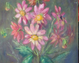 Vintage bouquet of zinnias with pastels