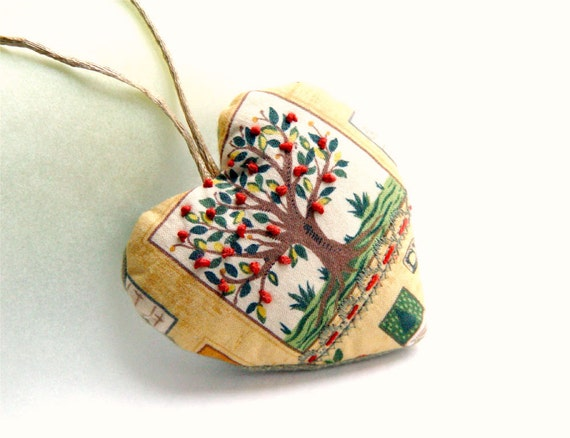 AUTUMN In Your HEART, Textile Ornament, Embroidered Tree, Perfect Gift, Polish Handwork