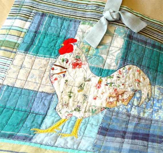 White Rooster in Blue, Kitchen Decor, Folk Art, Wall Hanging, rustic kitchen, rustic home decor, rustic modern, rustic rooster