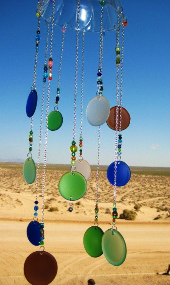 Sea Glass Bottle Bottoms Windchime / Mobile with Beads and Bells
