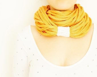 SCARF //  Infinity Eternity Scarf Noodle Scarves Cotton Fashion Neckwarmer Circle Necklace Chunky Cowl Yellow Orange