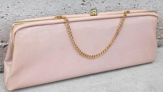 MOD BAG vintage 60s pink & gold clutch purse a97
