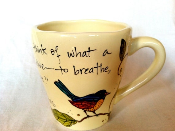 "Marcus Aurelius ""When you arise in the morning"" Literary Quote Mug - Hand-painted large cream mug with bird"