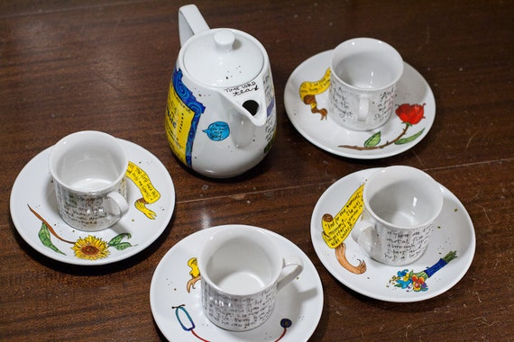 Doctor Who Tea Set - White, hand-painted with four Companion cups and saucers - Quotes from Nine, Ten, Eleven, Rose, Martha, Donna, and Amy