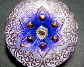 "27mm /1"" Lacey Purple/White Czech Glass Button-Gold Accents-Purple Flower"