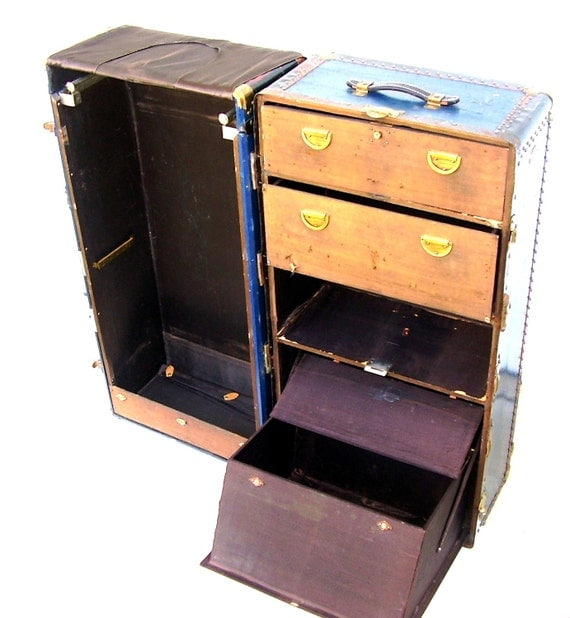Navy Blue Painted Steamer Trunk