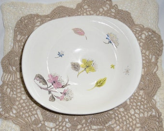 Vintage China - Grindley China, Hand Painted Bowl, Wildflower Pattern, Blue, Yellow, Pink, Made in England, 1950s