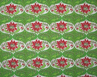"Christmas Snow Flower by Dena for Free Spirit green red damask 15"" X 42"""