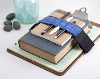Adjustable Velcro Bandolier // blue waves // (a better pencil case, journal pen holder, book strap, pen loop, pencil roll, pen bandolier)