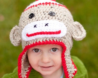 Crochet Sock Monkey Hat -  12 month -toddler  Ready to Ship