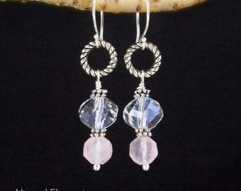 Rose Quartz Earrings - Elegant Dangle Earrings - Rose Quartz and Faceted Crystal Earrings - Silver Hoop Earrings - Pink Rose Quartz Jewelry