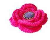 hot pink brooch, sales, flower brooch, free shipping, gift for her, crochet sales