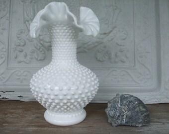 Milk Glass Hobnail Vase Double Crimp Ruffle Vintage