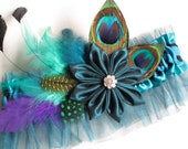 Peacock Wedding Garter, Prom Garter, Zebra Garter, Turquoise Garters, Teal Blue Bridal Garter with Feathers, Bridal Kanzashi