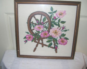 Needlecraft Embroidered Spinning Wheel with Flowers