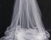 Bridal Veil Swarovski Crystal Rhinestone Sheer 65 Inch Long Floor Length Wedding Veil