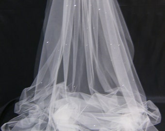 Swarovski Crystal Rhinestone Sheer 94 Inch Long Chapel Length Veil with Blusher