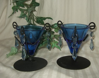 Vintage cobalt candle holders boho hippie gypsy votive candleholder metal and glass Wrought Iron curl.
