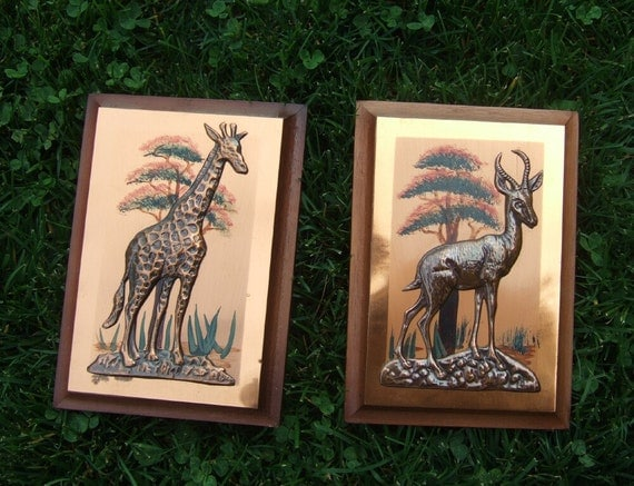 Vintage African Wall Art Copper Wall Hanging African Animals