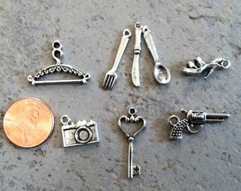 Add a Charm to Your Design, hanger, fork spoon knife, shoes, camera, key, pistol