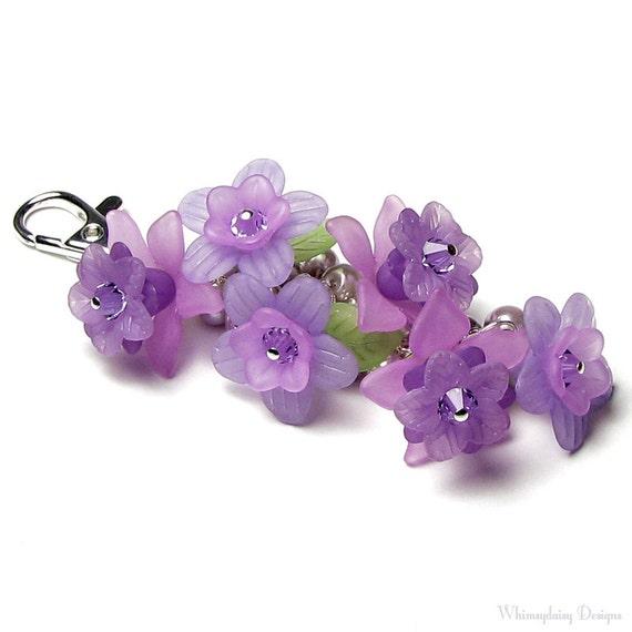 Lovely Lavender Floral Crystal Pearl Silver Handbag Charm
