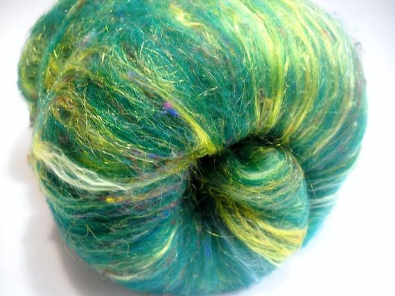 "Wool Sparkle Batt for Spinning - ""Genie in a Bottle"" August Arabian Nights Phat Fiber Colorway"