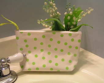 Small Lime Green Polka Dot Oilcloth Cosmetic Bag / Cosmetic Pouch / Makeup Bag / Cosmetic Case with Oilcloth Lining in Yellow Gingham