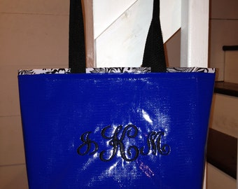 Small Waterproof Oilcloth Personalized Tote Bag - Royal Blue with 3 Letter Signet Monogram and Black Toile Oilcloth Interior