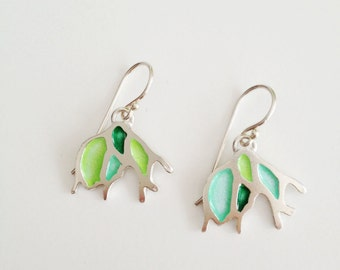 Enameled Silver Earrings - OOAK Enamel Jewelry -  Green Mint Lime Green glass enamel