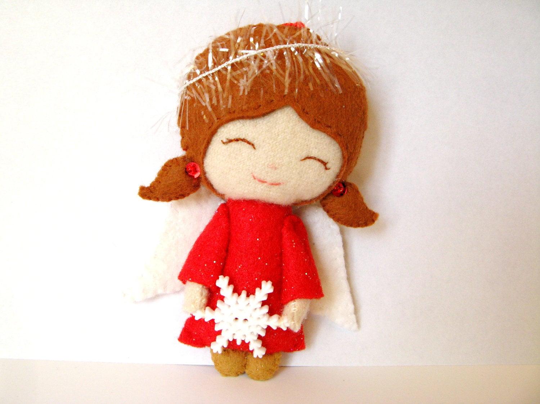 Angel Ornament Red Poly Felt Wool Felt Christmas By Rachelrode